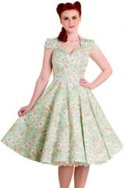 Camellia 50's Green Floral Dress by Hell Bunny