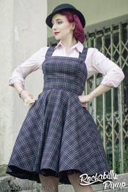 Peebles Navy Blue Tartan Pinafore Dress by Hell Bunny - 4X ONLY
