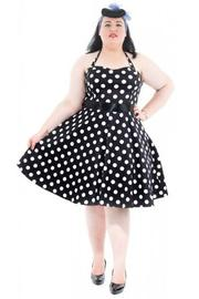 Big White Polkadots on Black 1950s Rockabilly Dress - UK24 ONLY
