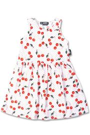 Cherries White Rockabilly Dress for Girls