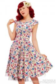Floral on White Vintage Summer Rockabilly Dress by HR UK8 ONLY