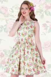 Vanilla Sky Floral Tea Dress by Lady Vintage UK8 ONLY