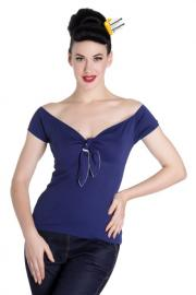Bardot Navy Blue Top by Hell Bunny