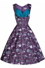 Ophelia Moonlit Purple Floral Forest Dress by Lindy Bop