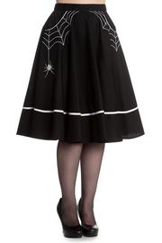 Miss Muffet Spider Black Cotton 50's Skirt by Hell Bunny