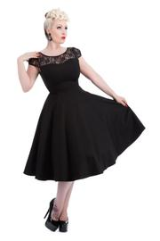 Emily Black Lace Neckline 50's Swing Dress by H&R London