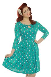 Helen Turquoise Puffin Print Day Dress by Lindy Bop