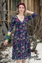 Ella Purple Floral Jersey Dress by Lady Vintage