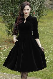 Glamorous Black Velvet 50's Tea Dress