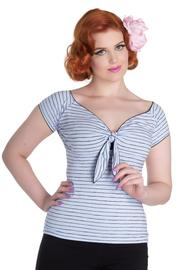 Mauricette Blue Striped Top by Hell Bunny