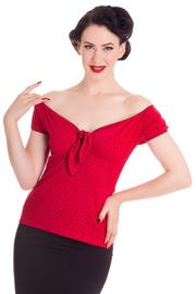 Cilla Red Top with Black Polkadots by Hell Bunny