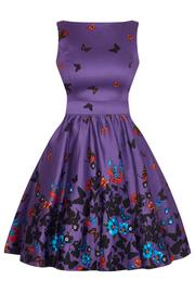 Purple Butterfly Border Tea Dress by Lady Vintage