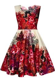 Red Roses Collage Girl's Swing Dress by Lady Vintage