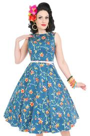 Hepburn Beautiful Birds Blue Dress by Lady Vintage