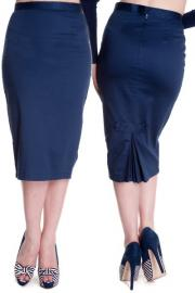 Frankie Navy Blue Wiggle Skirt by Hell Bunny