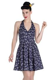 Marin Navy Blue Nautical Print Mini Summer Dress by Hell Bunny