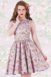 Lilac Delight Floral Tea Dress by Lady Vintage UK14 ONLY