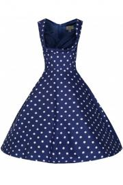 Ophelia Blue with White Polkadot  Prom Swing Dress by Lindy Bop