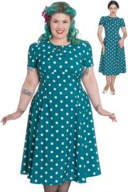 Madden Polkadot Teal Dress by Hell Bunny