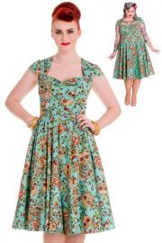 Sasha Sugarskull Green Dress by Hell Bunny