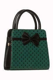 Carla Bow Polkadot Green and Black Handbag