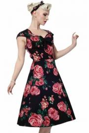 Isabella Black and Pink Rose Rockabilly Dress UK8 ONLY