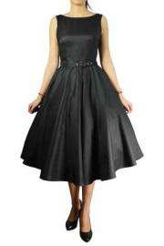Annabel Black Satin Sleeveless Dress with Belt