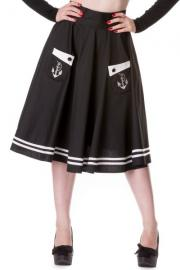 Anchored BLACK Swing Skirt by Hell Bunny