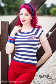 Hailey Blue White Striped Knit Top by Hell Bunny