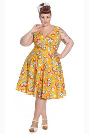 Somerset Apple Blossom Orange 50's Dress PLUS SIZE ONLY