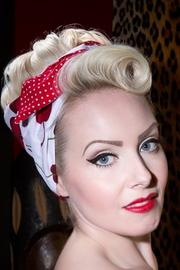 Cherry on White Wired Hairband with Red Polkadot Lining