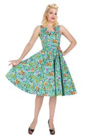 Turquoise Ella Floral 50's Swing Dress