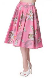 Candy Hawaii Hibiscus Pink Swing Skirt by Hell Bunny