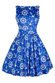 Nautical Print Blue Tea Dress by Lady Vintage