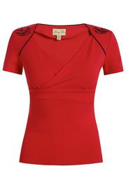 Paloma Embroidered Swallow Red Top by Lindy Bop
