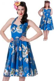 Alika Hawaii Hibiscus Blue 50's Swing Dress by Hell Bunny