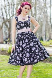 Amelia Cat Print Black 50's Dress by Hell Bunny