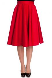 Paula Red Cotton 50's Swing Skirt PLUS SIZE ONLY