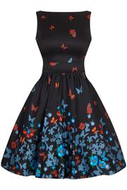 Black Butterfly Border Tea Dress by Lady Vintage