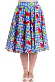 August Cherry Blue check Rockabilly Swing Skirt by Hell Bunny
