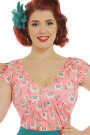 Esme Coral Llama Fitted Top by Lindy Bop