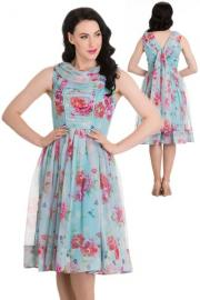 Summer Floral Blue Dress by Hell Bunny