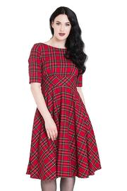 Irvine Red Tartan 50's Rockabilly Dress by Hell Bunny - S ONLY