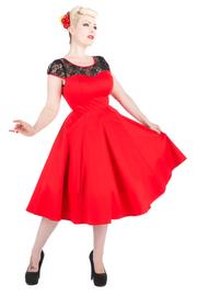 Emily Red with Black Lace Neckline 50's Dress