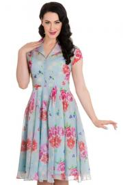 Bloomsbury Floral Blue 50's Dress by Hell Bunny