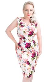 Vintage Rose Pinup Pencil Dress