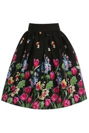 Praia Black Tulip Print Swing Skirt by Lindy Bop