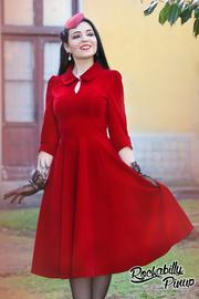 Glamorous Burgundy Red Velvet 50's Tea Dress