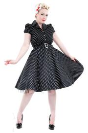 Black Cotton Shirt Dress with Small White Polkadots UK8 ONLY
