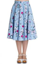 Belinda Roses Print Blue Cotton 50's Skirt by Hell Bunny